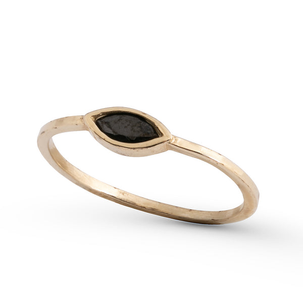 14K gold ring with ellipse stone - Goldy jewelry store