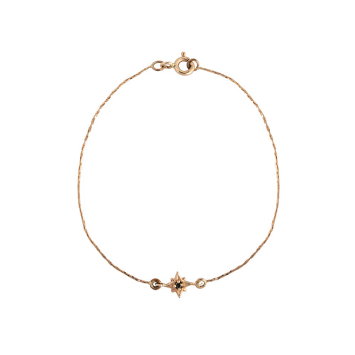 14K gold star with black diamond bracelet