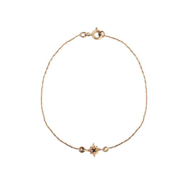 14K gold star with black diamond bracelet - Goldy jewelry store