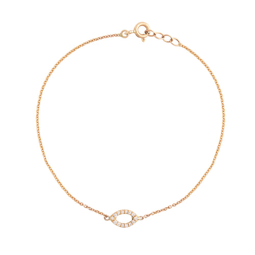 14k gold bracelet with white oval diamonds