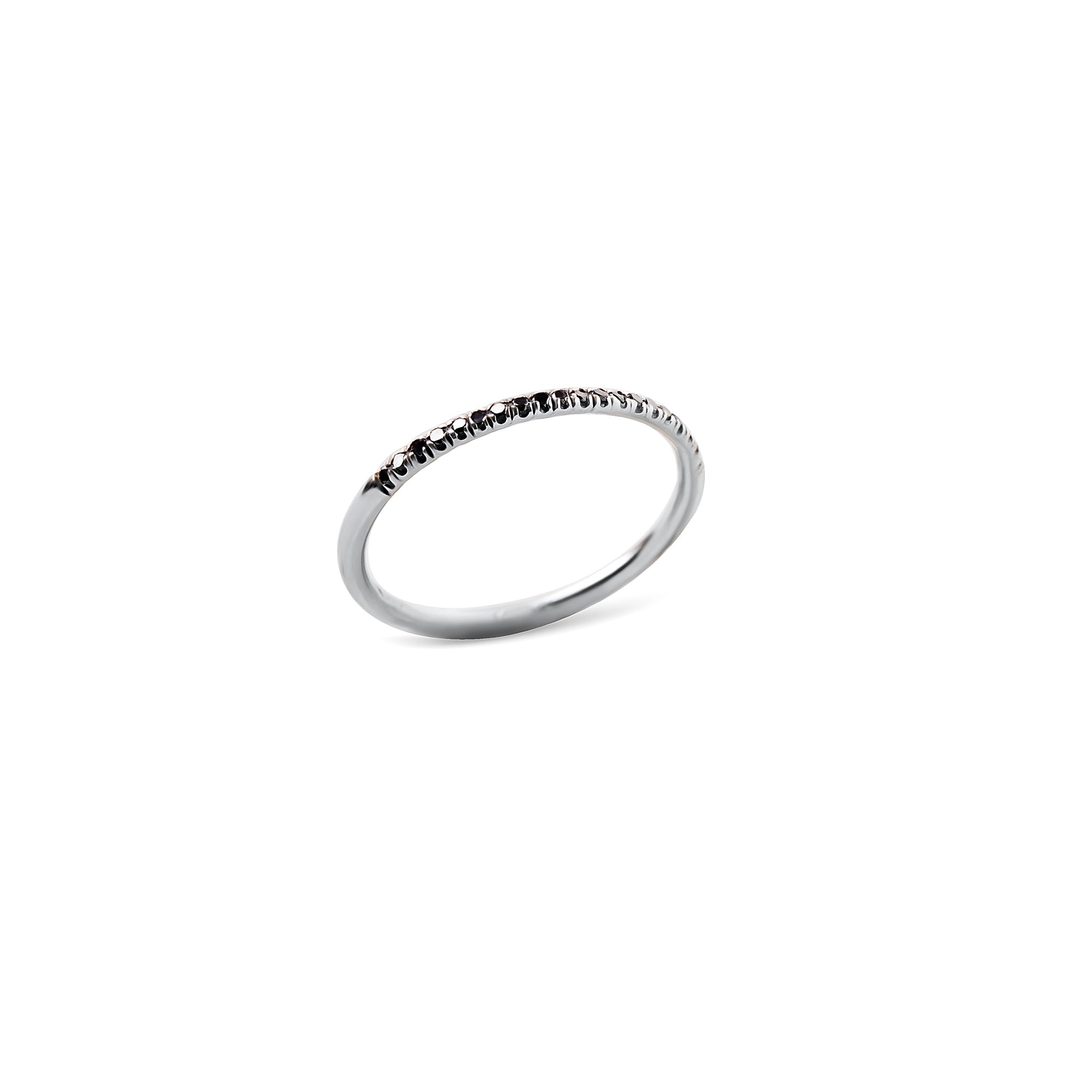 14k Gold thin ring with white / black diamonds