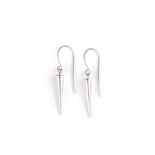 Silver hanging cone earrings