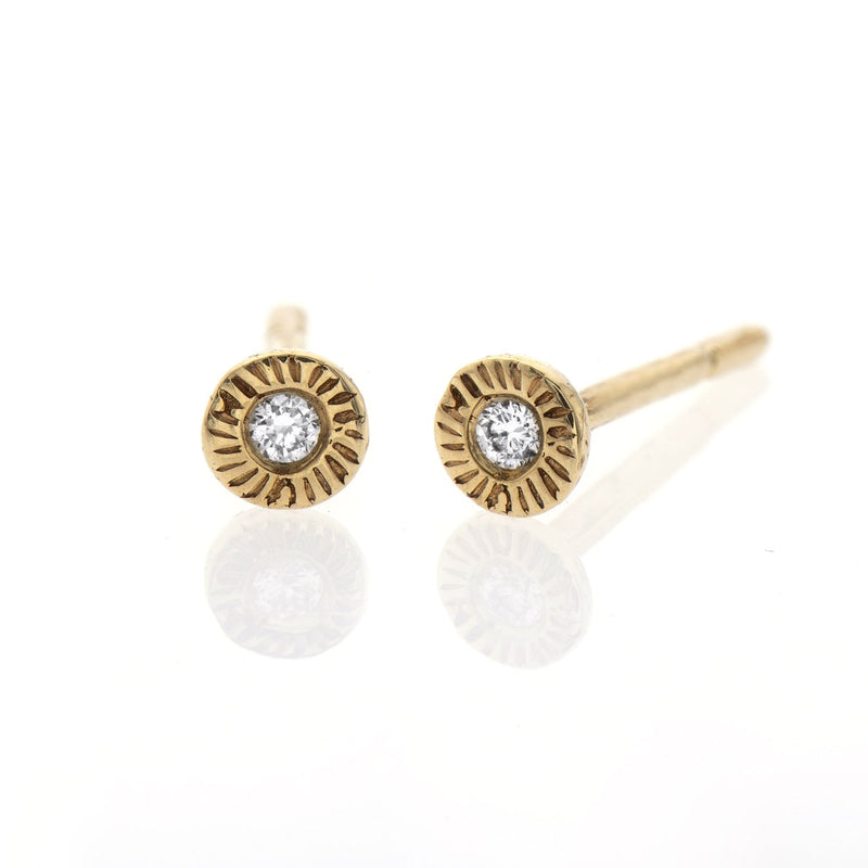 14k gold small earrings with white diamonds