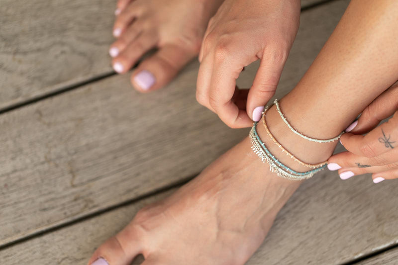 Drops Silver ankle bracelet single