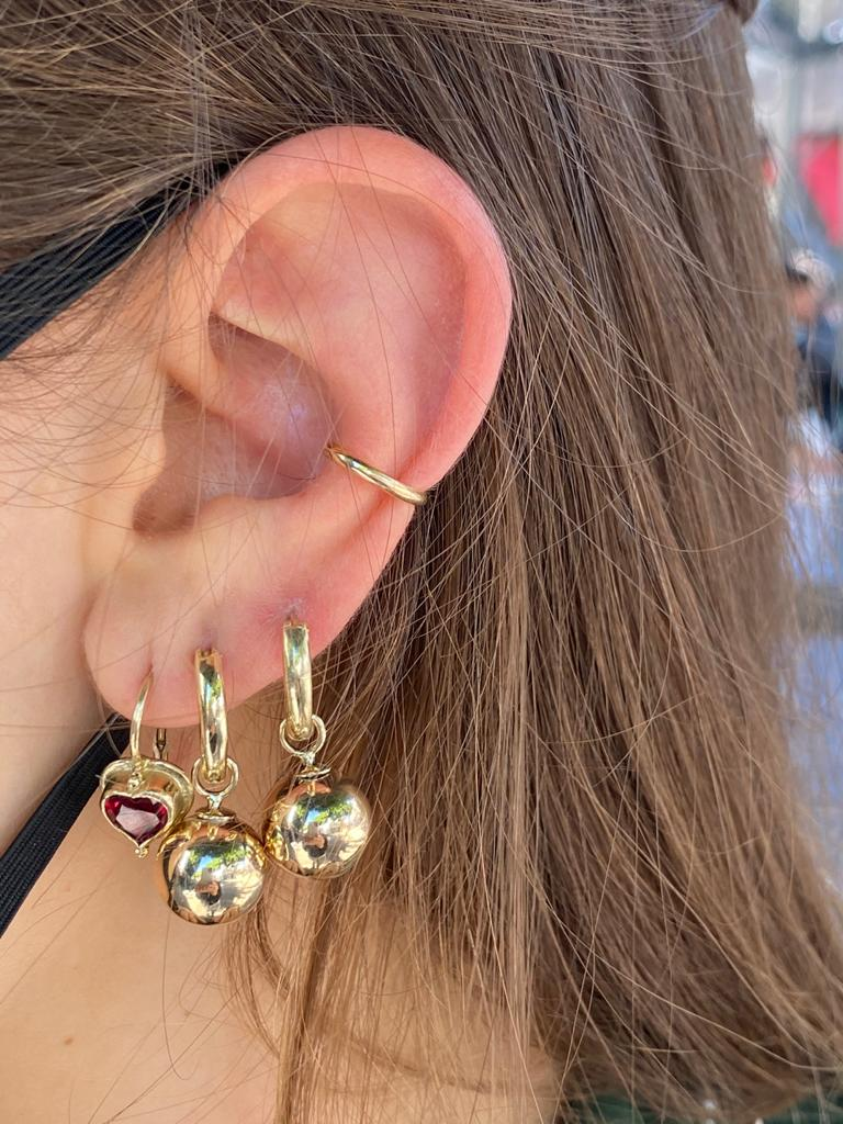 14K gold Hoops with a golden ball