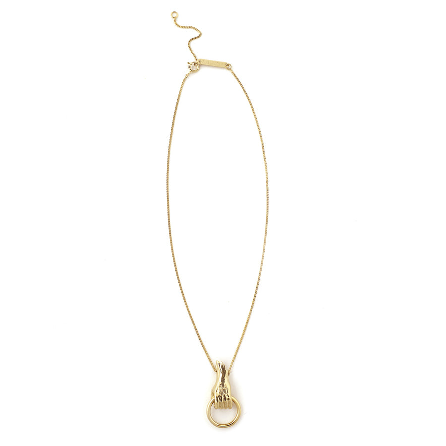 Solid hand gold plated necklace