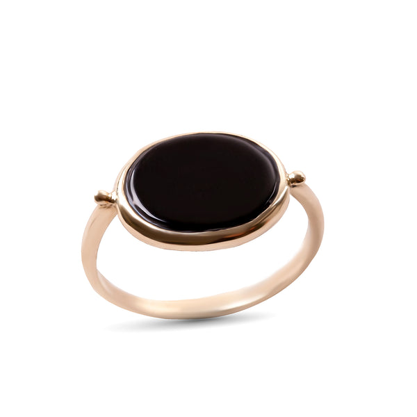 14K gold Oval ring with onyx stone - Goldy jewelry store