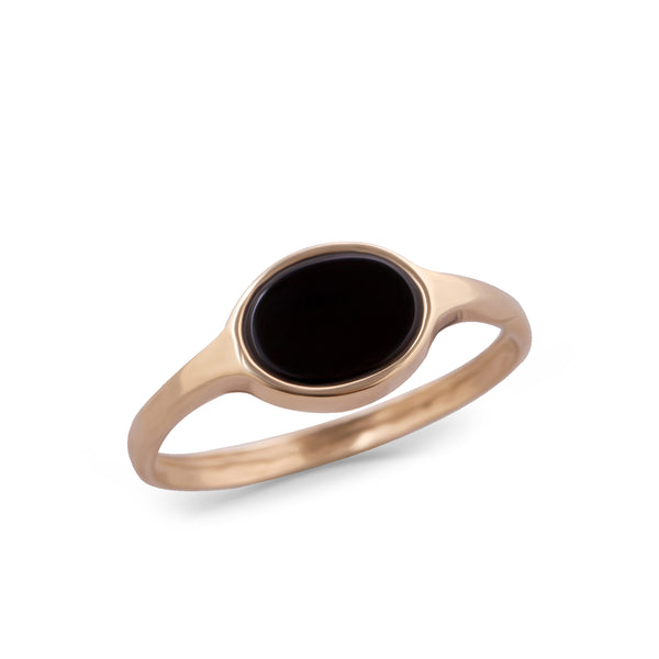 14K gold Oval ring with onyx - Goldy jewelry store