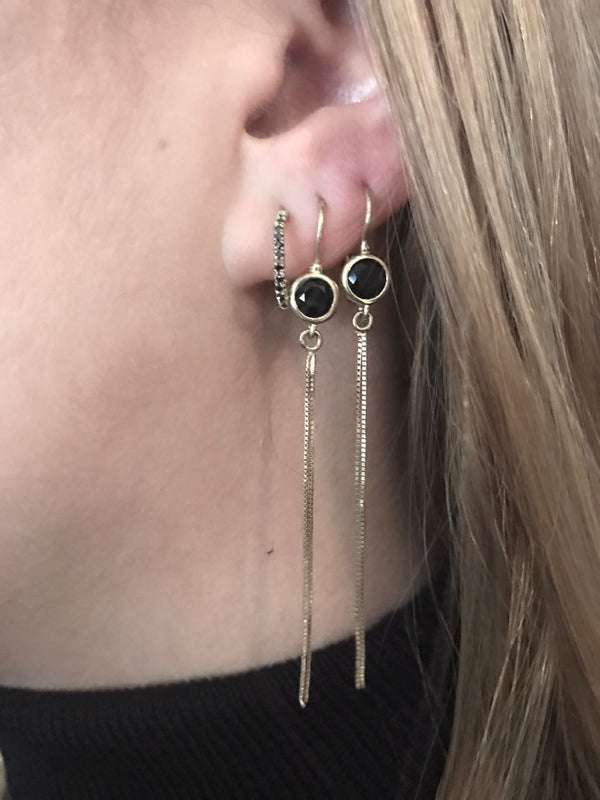 14k Gold Onyx Earring - Goldy jewelry store