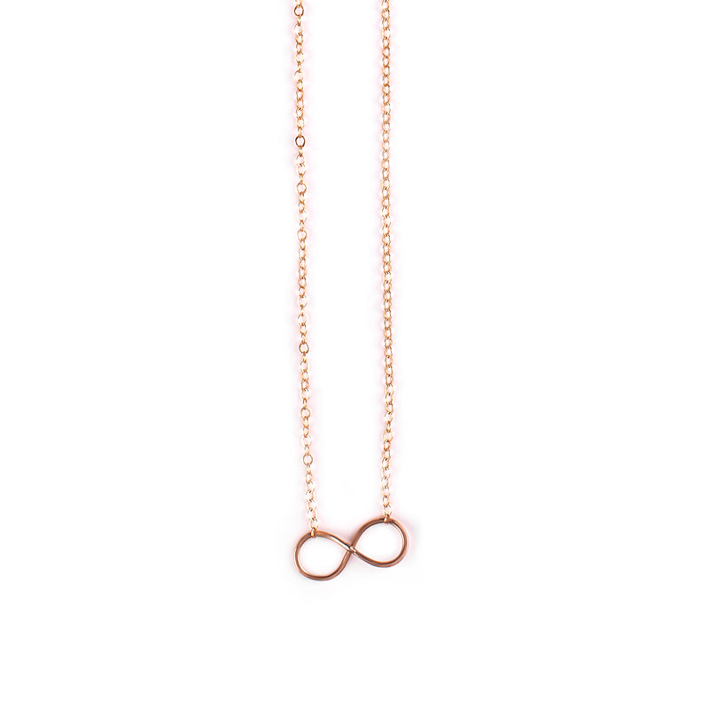 Goldfilled / black silver necklace with Infinity / heart pendant - Goldy jewelry store