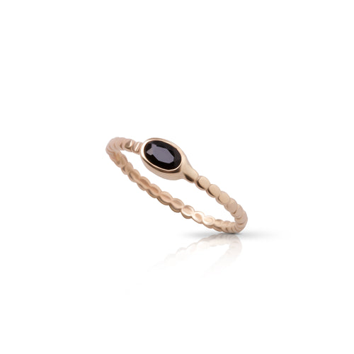 14K gold small Oval ring with onyx