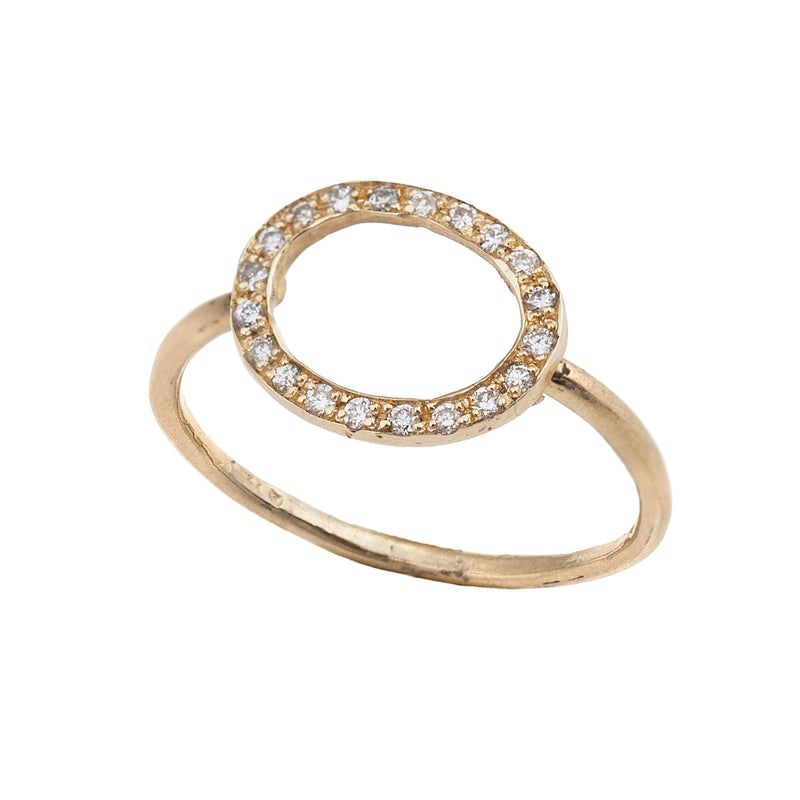 14K gold Round ring with diamonds - Goldy jewelry store