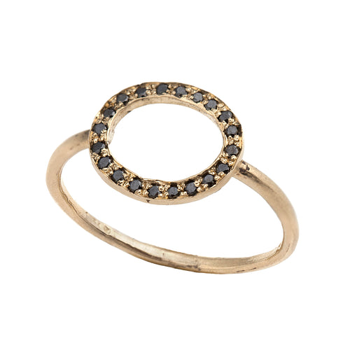14K gold Round ring with black diamonds