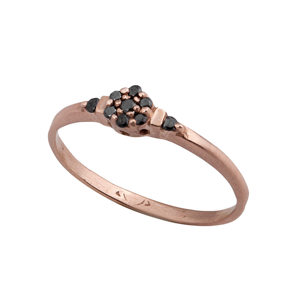 14K rose gold ring with black diamonds - Goldy jewelry store