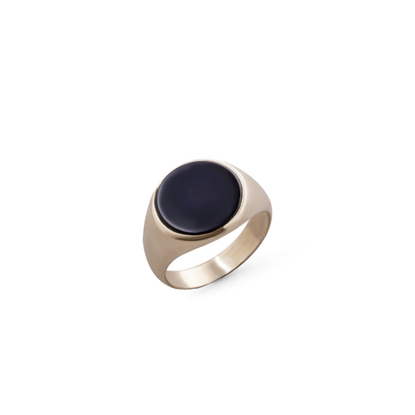 14K gold ring with big Round stone onyx - Goldy jewelry store