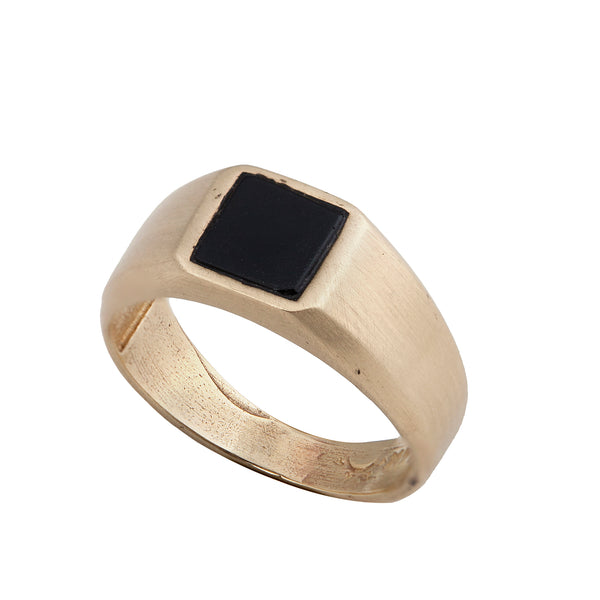 14K gold Seal ring with onyx stone - Goldy jewelry store