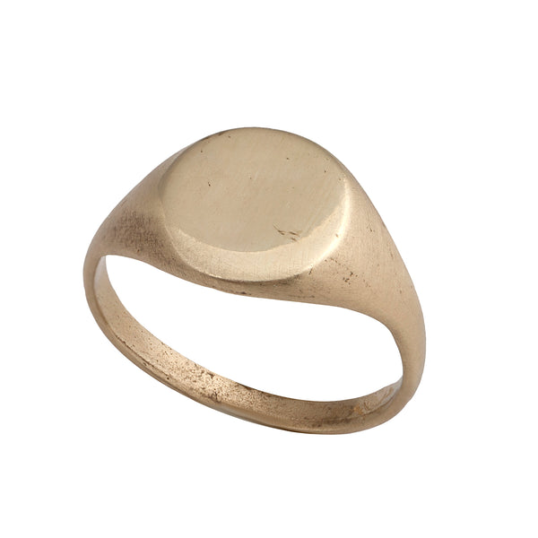 14K GOLD Circle Seal ring - Goldy jewelry store