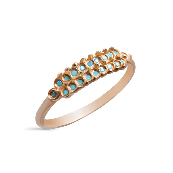 14k gold ring with two rows of stone - Goldy jewelry store