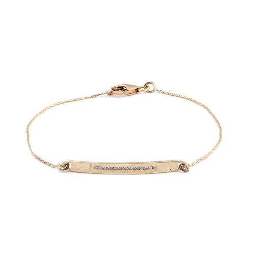 14K gold bracelet with white Diamonds band