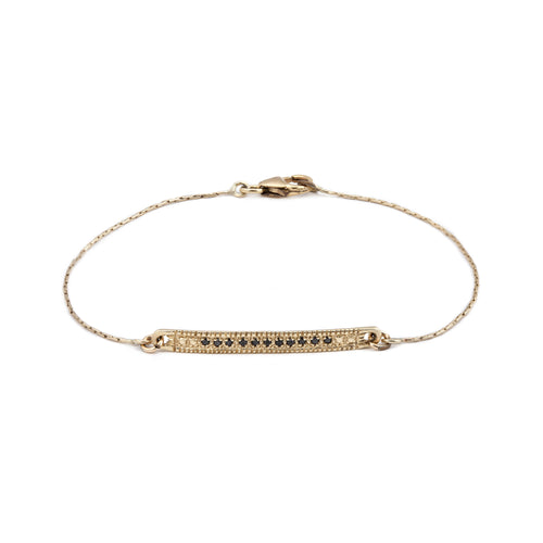 14K gold bracelet with black Diamonds band