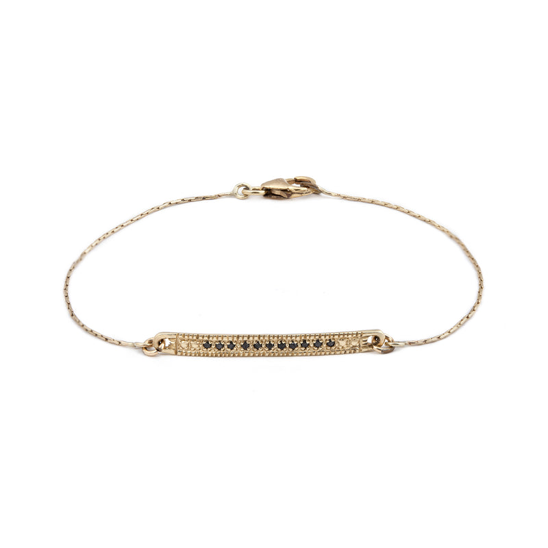 14K GOLD bracelet with black Diamonds band - Goldy jewelry store