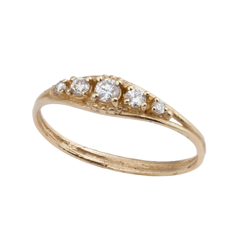 14k gold ring with 5 white diamonds - Goldy jewelry store