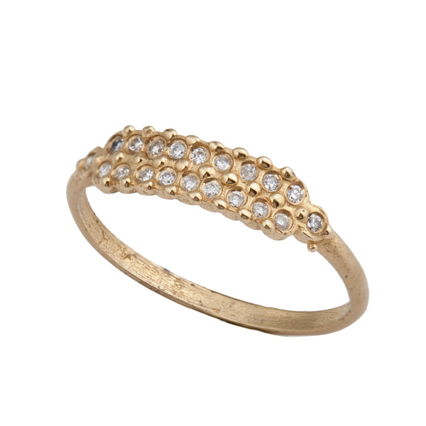 14k gold ring with two rows of diamonds - Goldy jewelry store