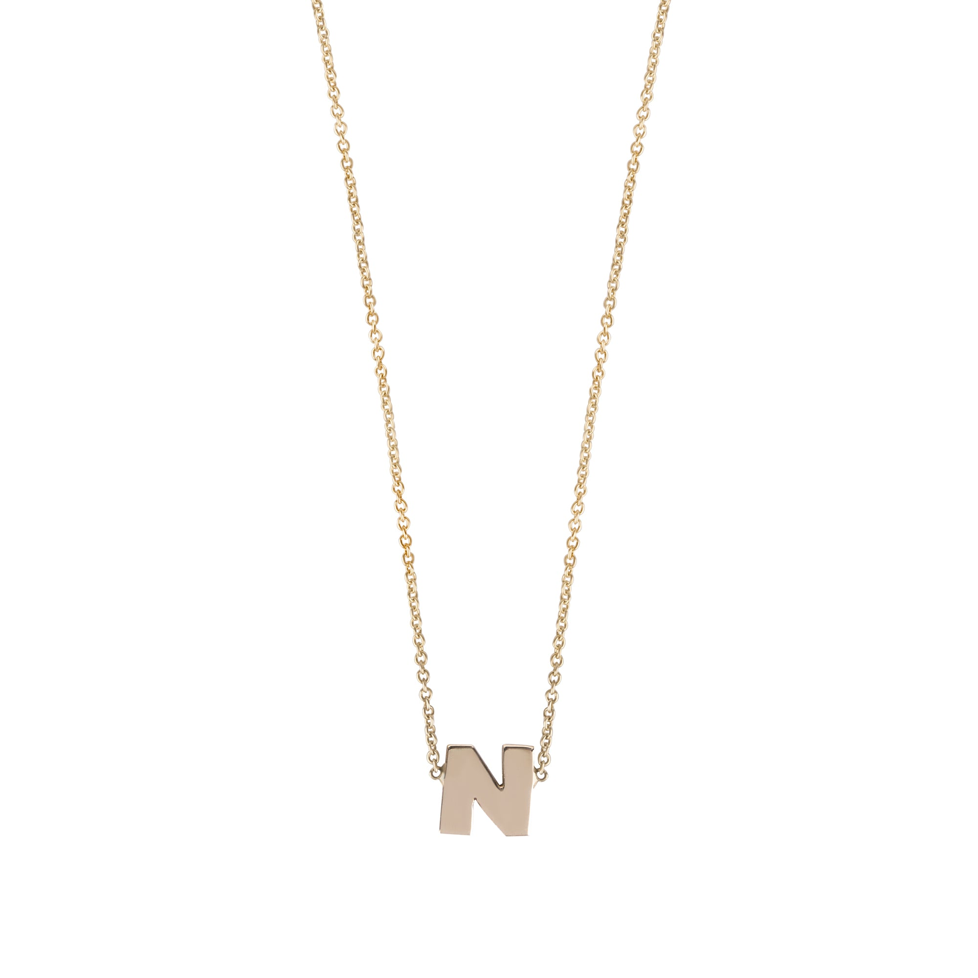 14K gold necklace with a letter (center)