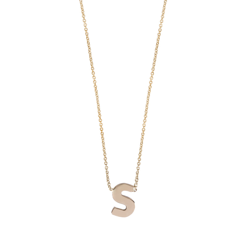 14K gold necklace with a letter (center) - Goldy jewelry store