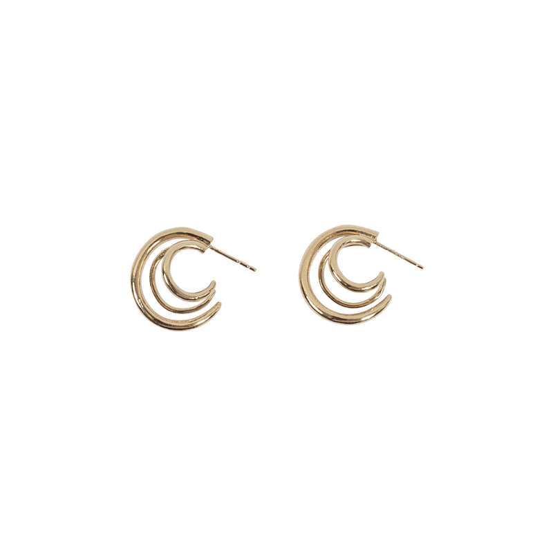 Threeway  mini gold plated earring - Goldy jewelry store