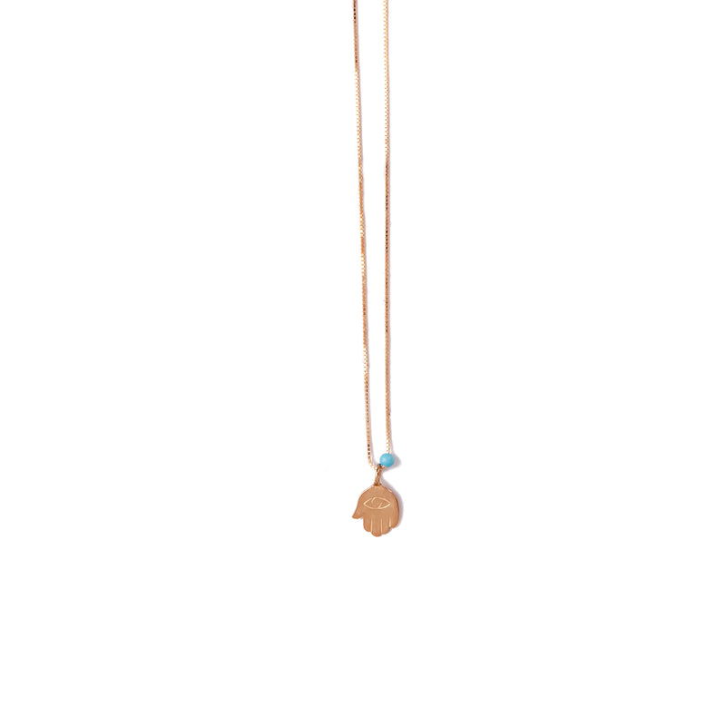 14K GOLD necklace with element of Turquoise / Pearl - Goldy jewelry store