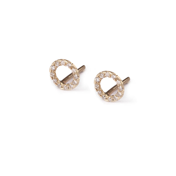 14k gold Round earring with diamonds - Goldy jewelry store