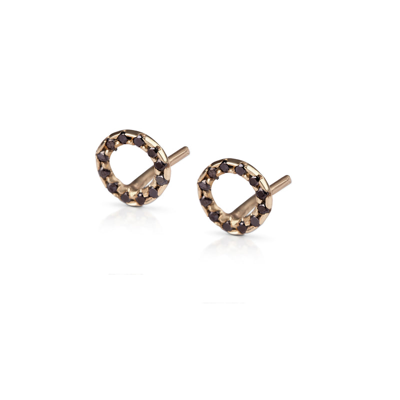 14k gold Round earring with black diamonds - Goldy jewelry store