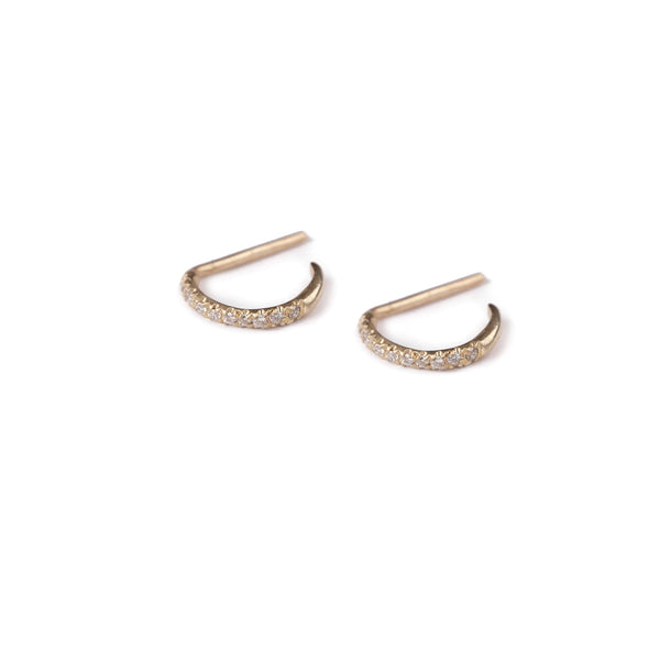 14k gold open hoop earrings with diamonds - Goldy jewelry store