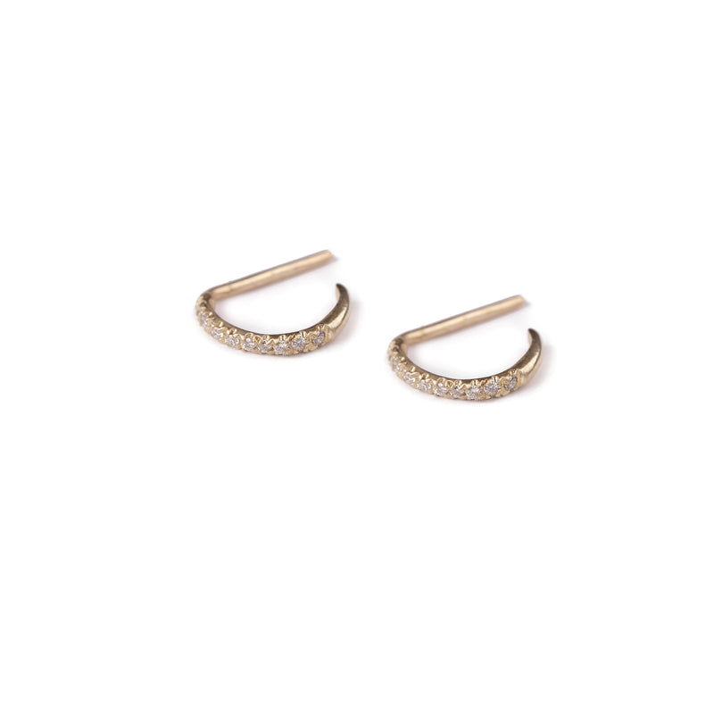 14k gold open hoop earrings with diamonds-s - Goldy jewelry store