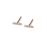 14k gold stripe earrings with diamonds - Goldy jewelry store