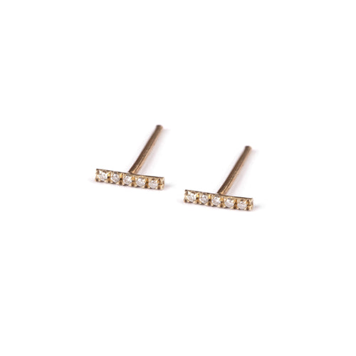 14k gold stripe earrings with diamonds