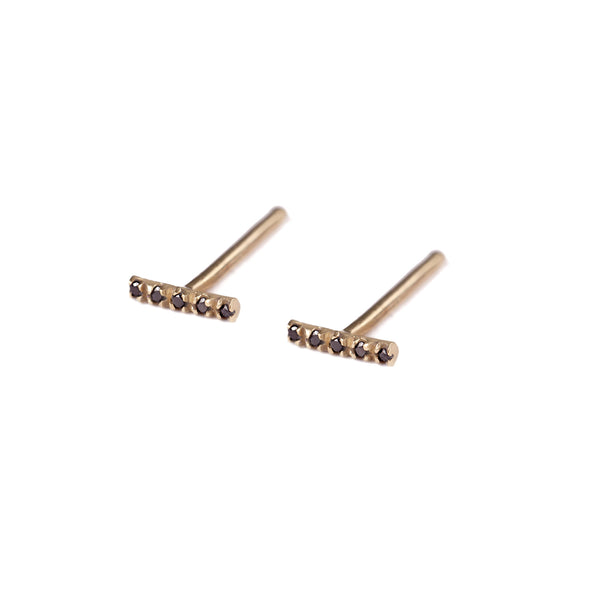 14k gold stripe earrings with black diamonds - Goldy jewelry store