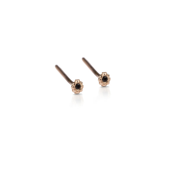 14k gold xs earrings with black diamond - Goldy jewelry store