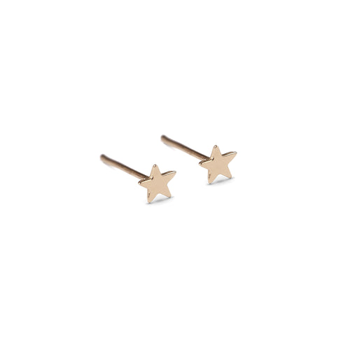 14k gold small star earrings