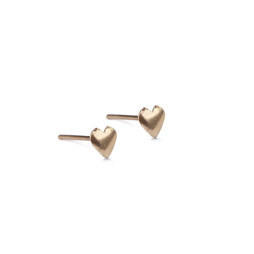 14k gold small heart earrings