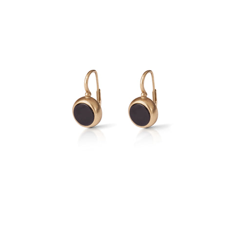 14k Hanging gold earrings with stone frame