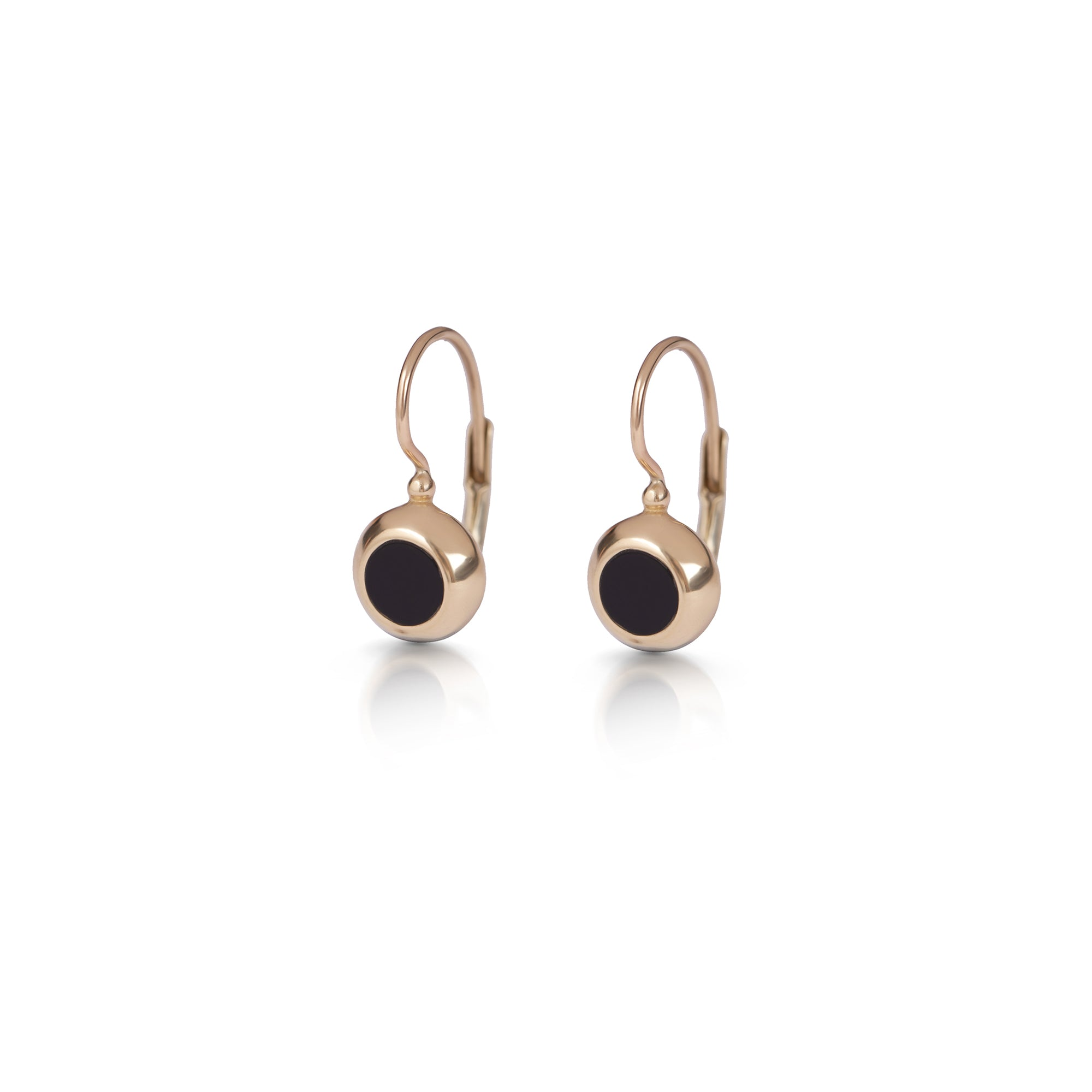 14k Hanging gold earrings with small stone frame
