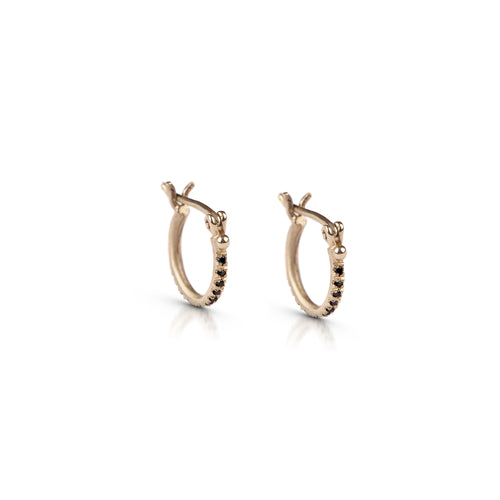 14k gold closed hoop earrings with black diamonds