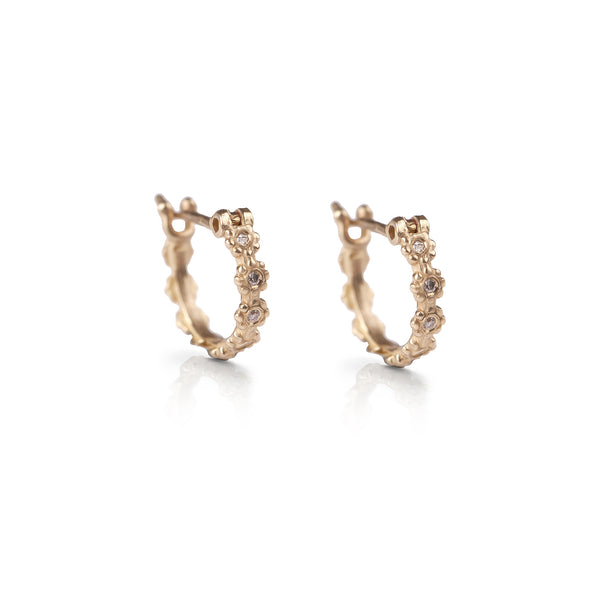 14k gold flowers earrings with diamonds - Goldy jewelry store