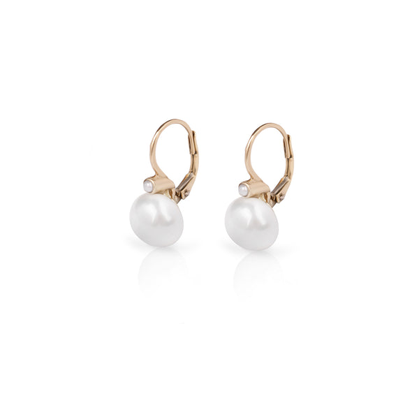 14k Hanging gold earring with two Pearls - Goldy jewelry store
