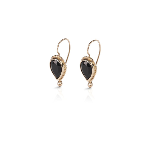 14k Gold earring drop hanging with stone