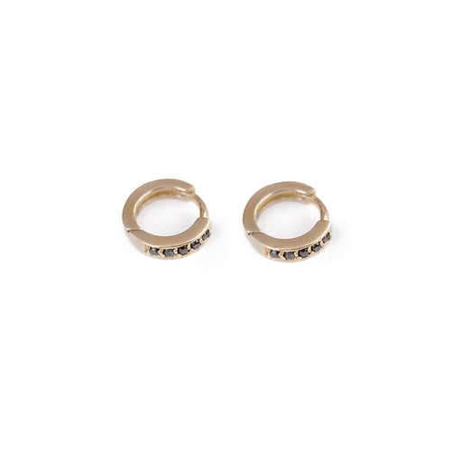 14k gold closed xs hoop earrings with black diamonds