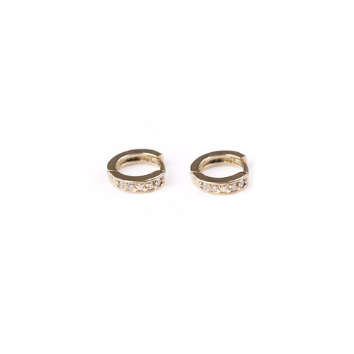 14k gold closed xs hoop earrings with white diamonds