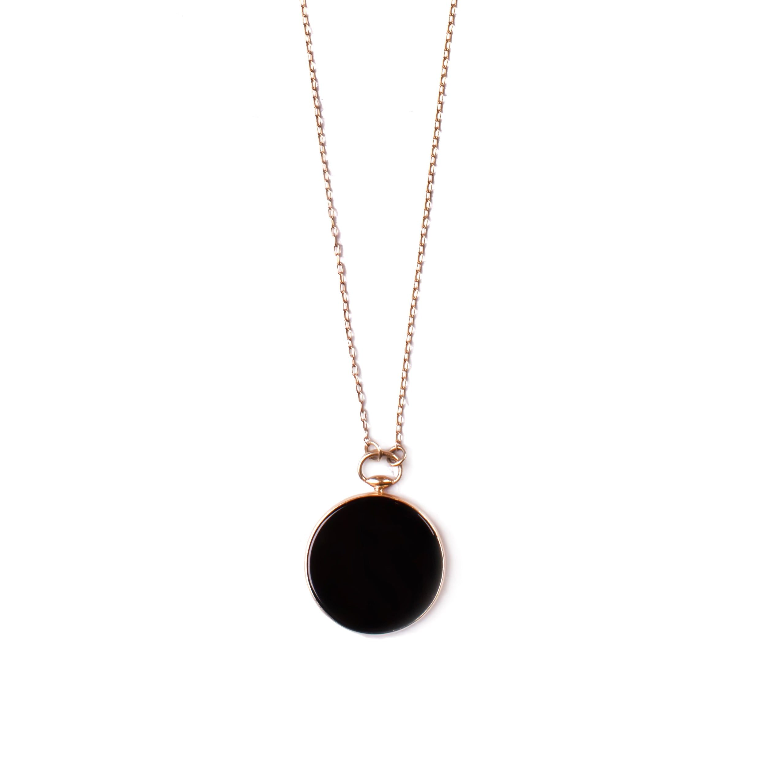 14k gold long necklace with big pendant onyx